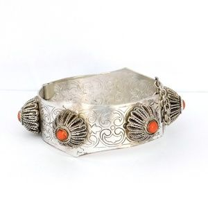 Vintage Turkish Cuff Bracelet Coral Silver Plated